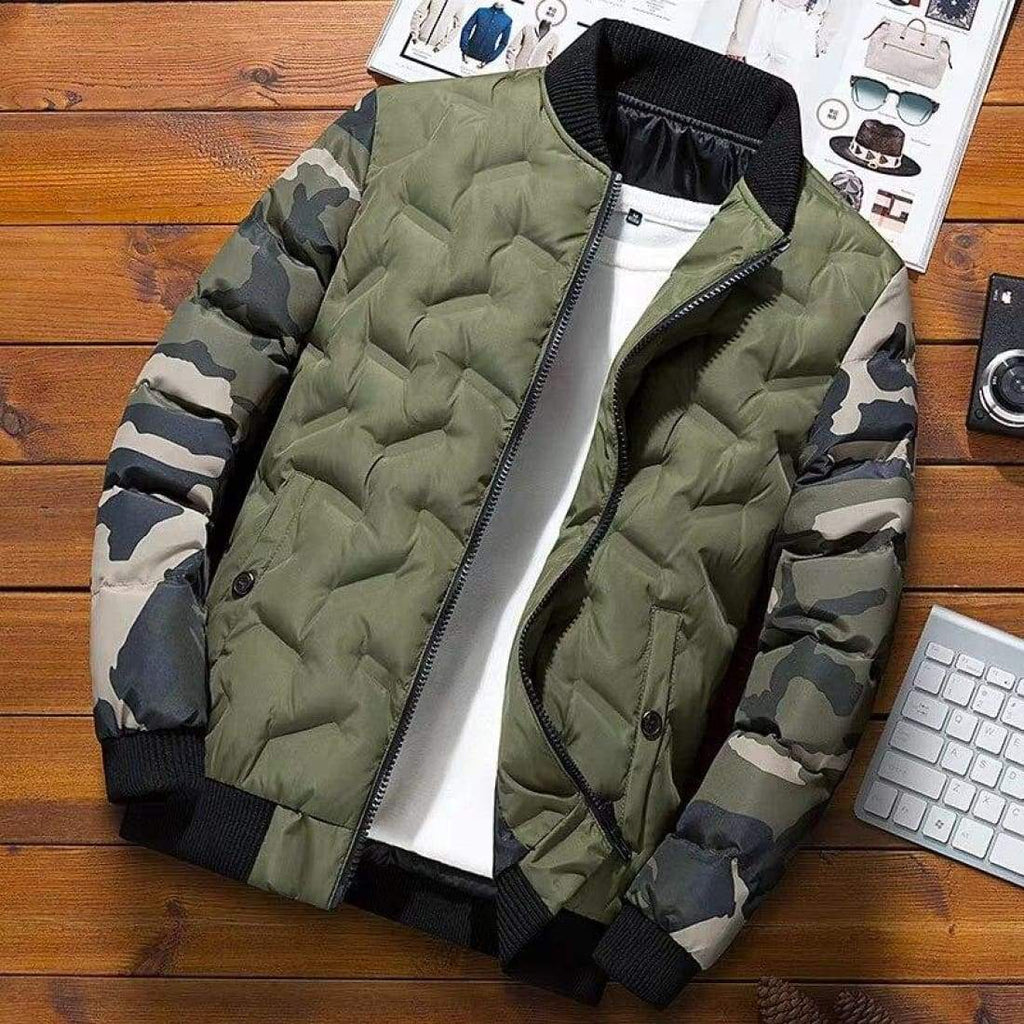 Camouflage Puffer Bomber Jacket - Army green / S