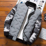 Camouflage Puffer Bomber Jacket - Gray / S