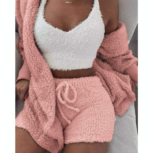 Cozy knit set (3 Pieces) - Cozy Pink / S