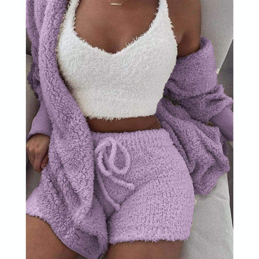 Cozy knit set (3 Pieces) - Cozy Purple / S