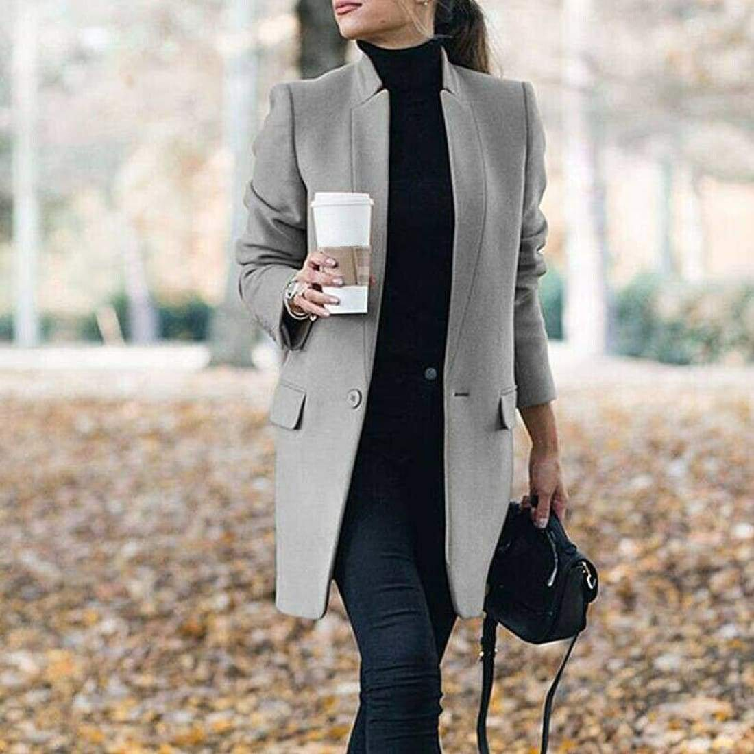 Elegant Wool Coat with Stand-up Collar - Gray / S