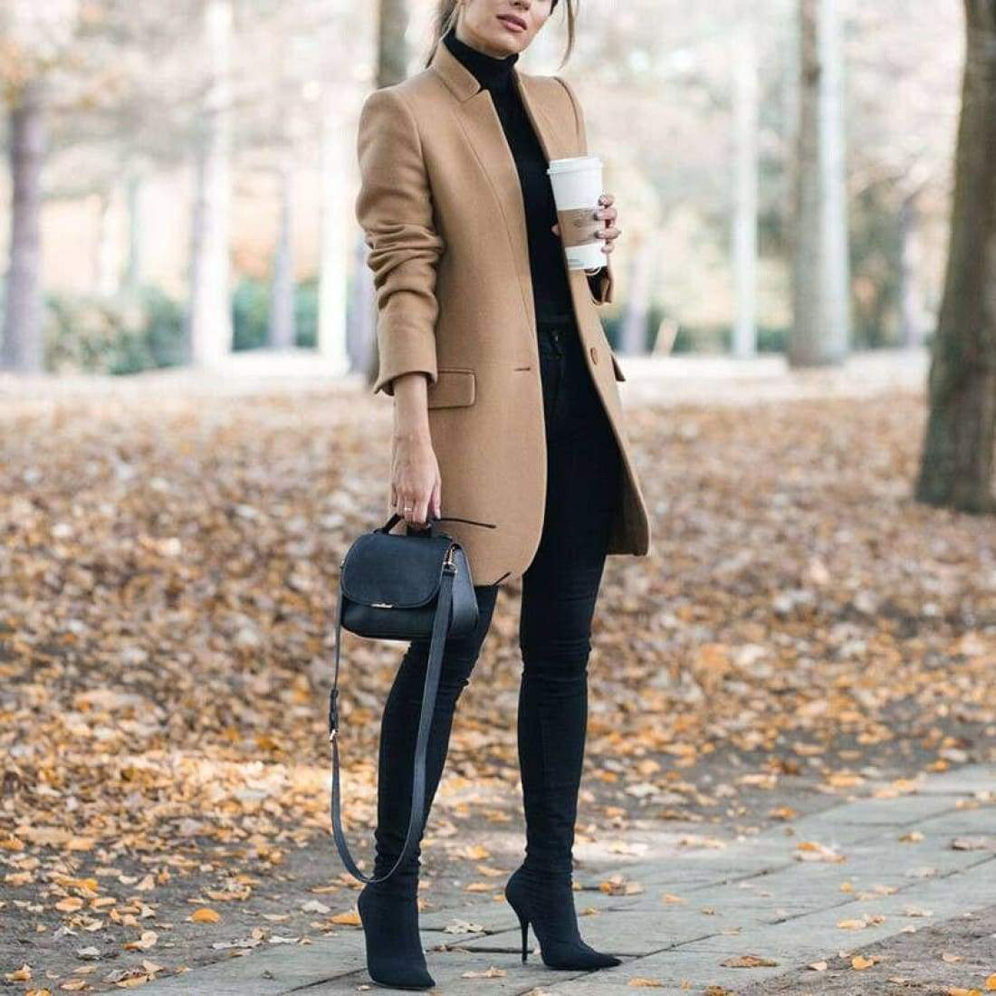 Elegant wool coat with stand-up collar - Khaki / S