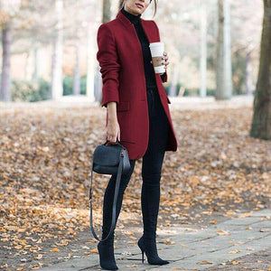 Elegant Wool Coat with Stand-up Collar - Wine Red / S