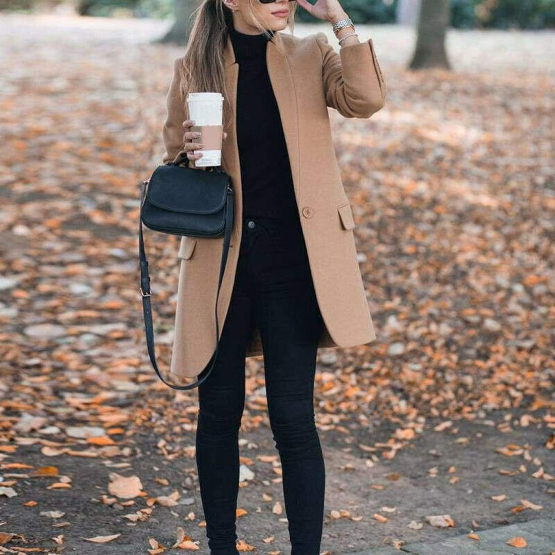 Elegant Wool Coat with Stand-up Collar