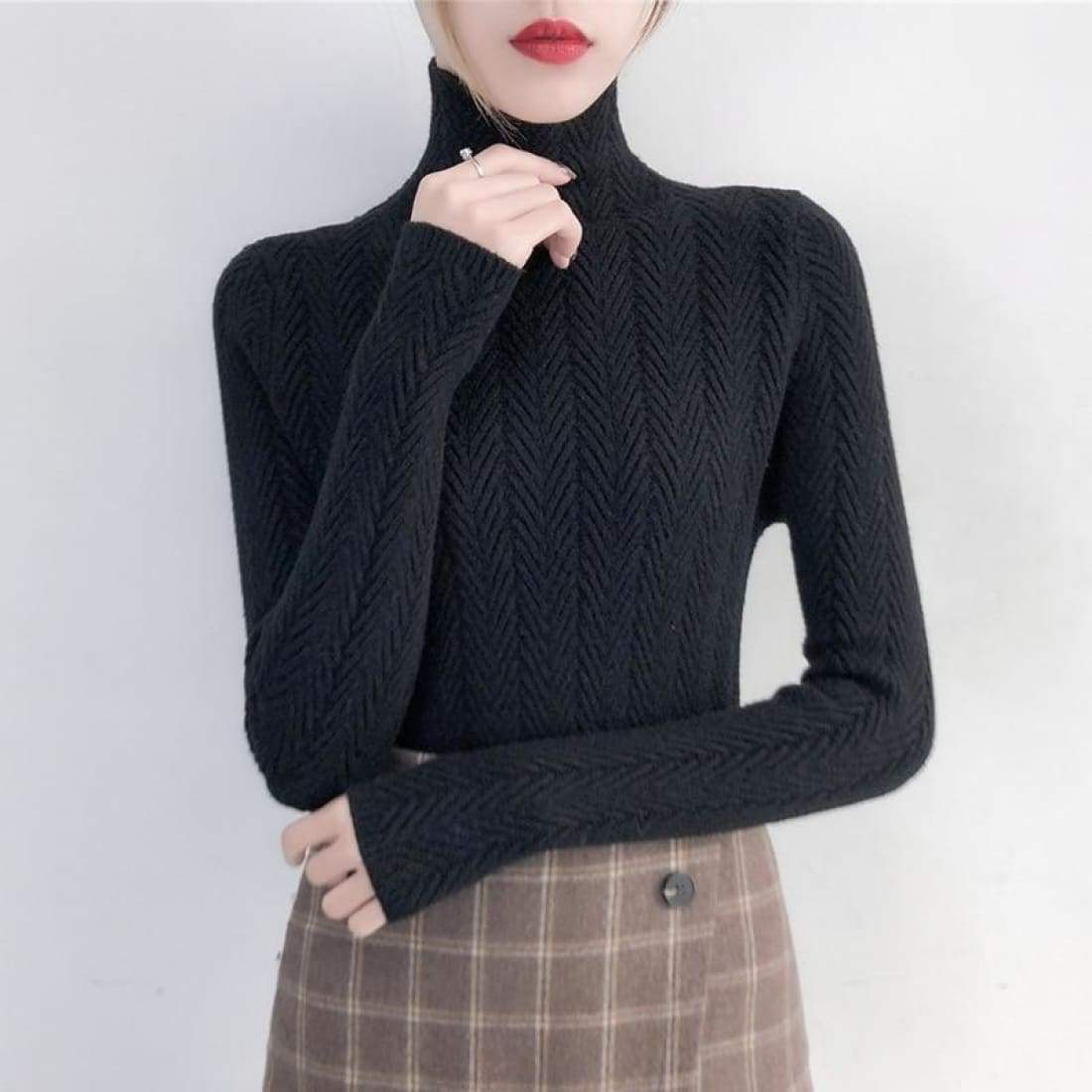 Fine knitted sweater with stand-up collar - Black / S