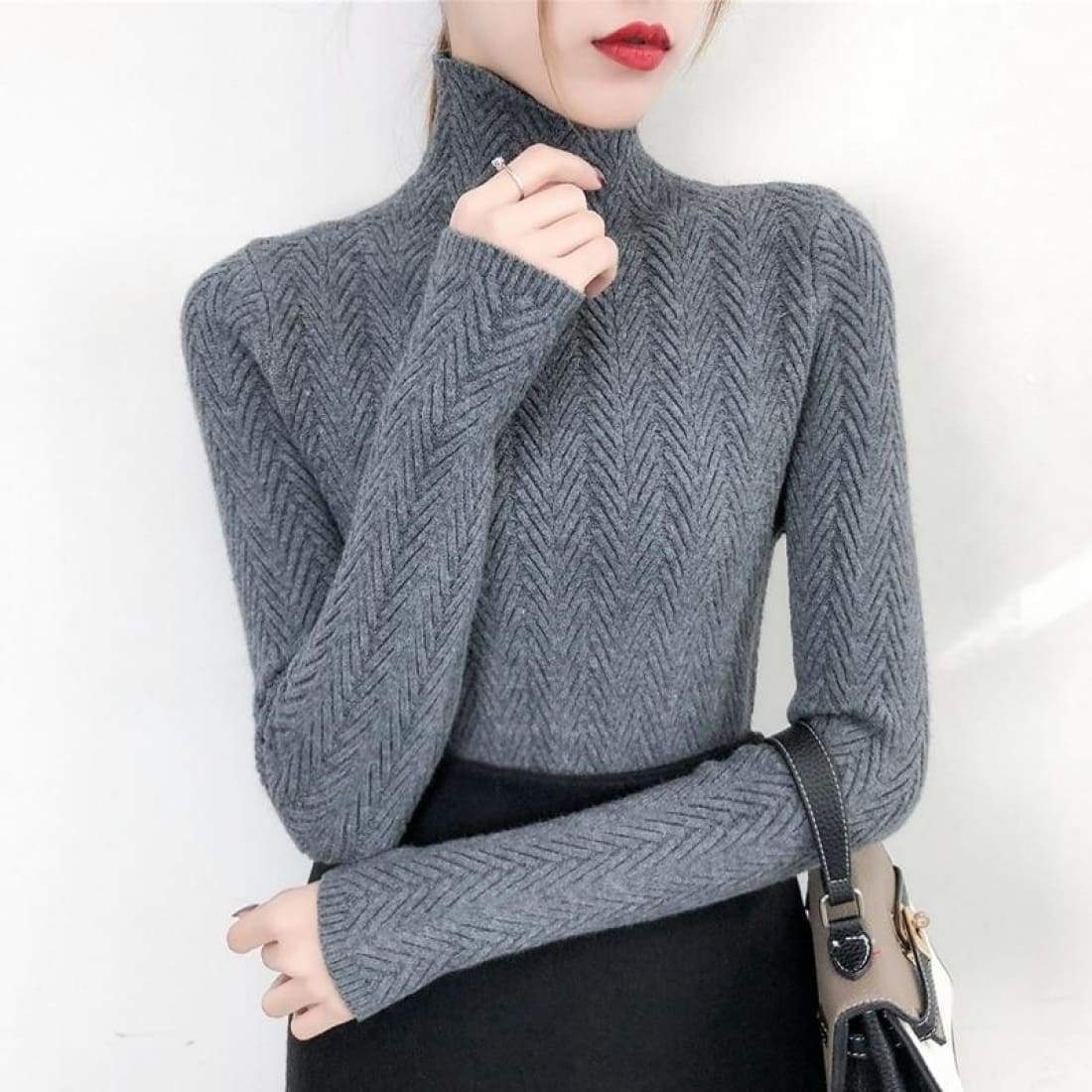Fine knitted sweater with stand-up collar - Gray / S