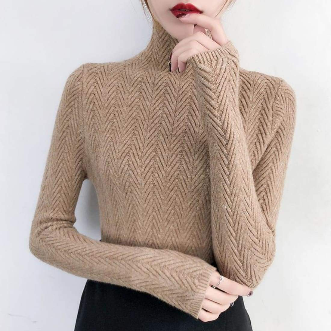 Fine knitted sweater with stand-up collar - Khaki / S