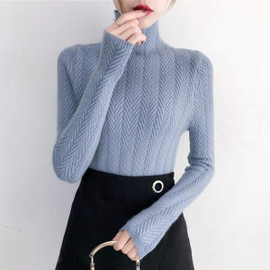 Fine knitted sweater with stand-up collar - Light blue / S