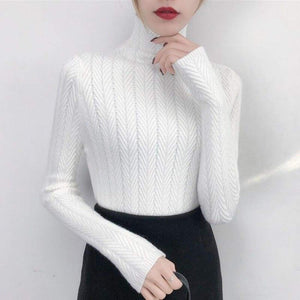 Fine knitted sweater with stand-up collar - White / S