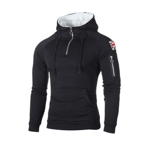 Half-zip hoodie with side patch - Black / XXS