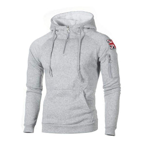 Half-zip hoodie with side patch - Light gray / XXS