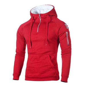 Half-zip hoodie with side patch - Red / XXS