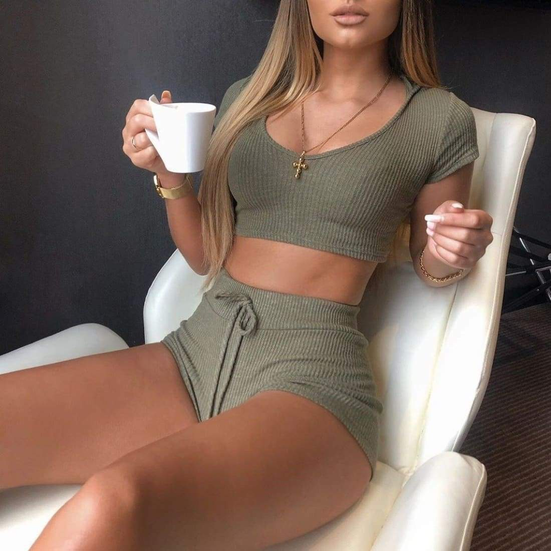 Holiday vibes set (2 Pieces) - Holiday Green / S - knitted knit ribbed two piece 2-piece bodycon shorts top lounge matching set drawstring