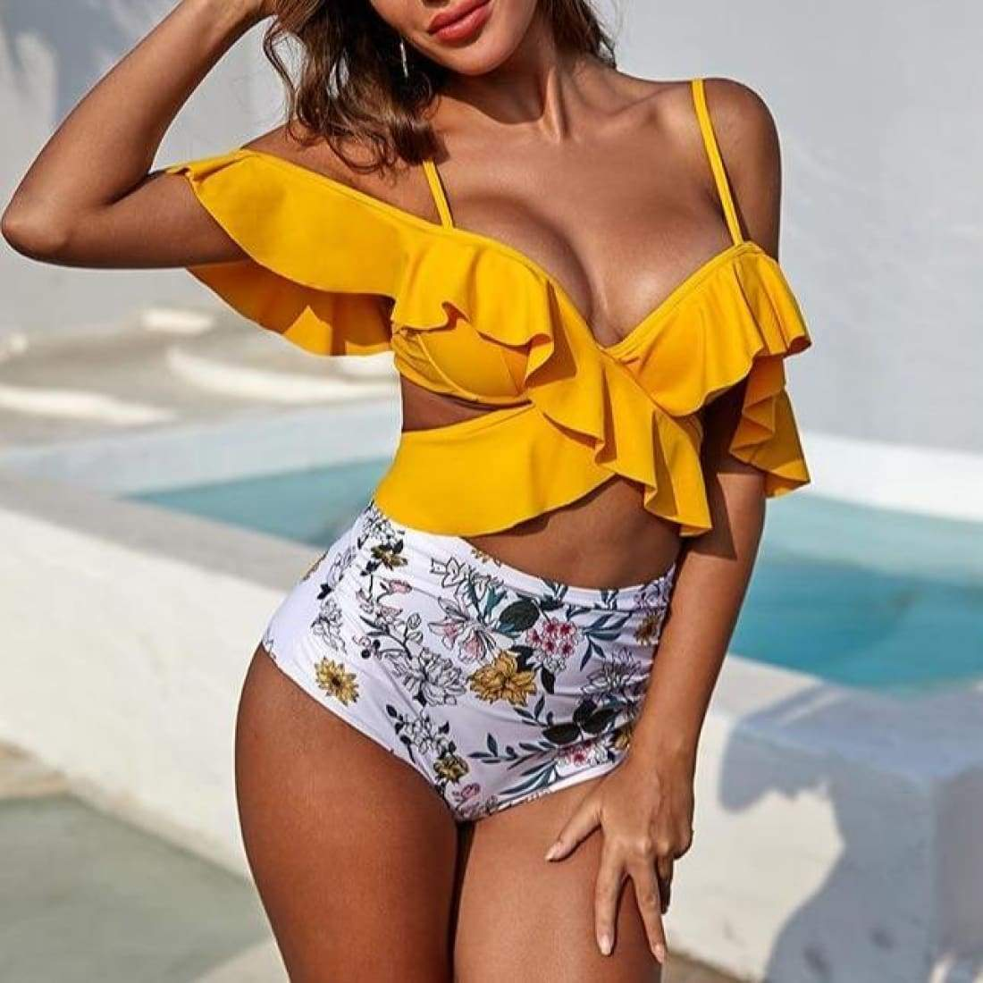 Ruffle off-shoulder swimsuit - Yellow / S - swimsuit swimsuits bikini bikinis bathing suit bathing suits swimwear swimming suits