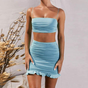 Ruffle summer set (2 Pieces) - Ruffle Sky Blue / S - Bodycon off shoulder crop top strap sexy skirt two piece party