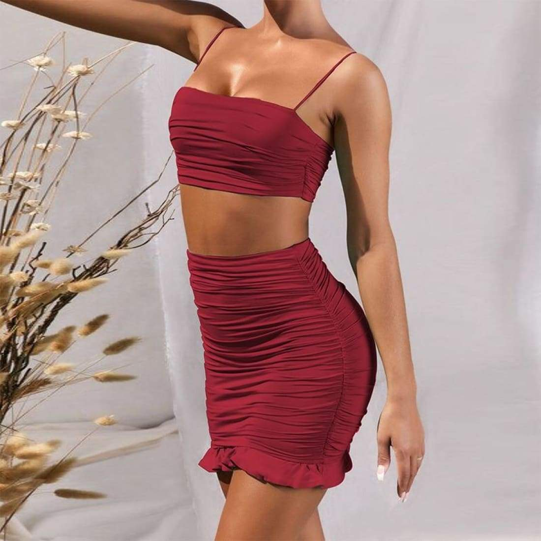 Ruffle summer set (2 Pieces) - Ruffle Wine Red / S - Bodycon off shoulder crop top strap sexy skirt two piece party