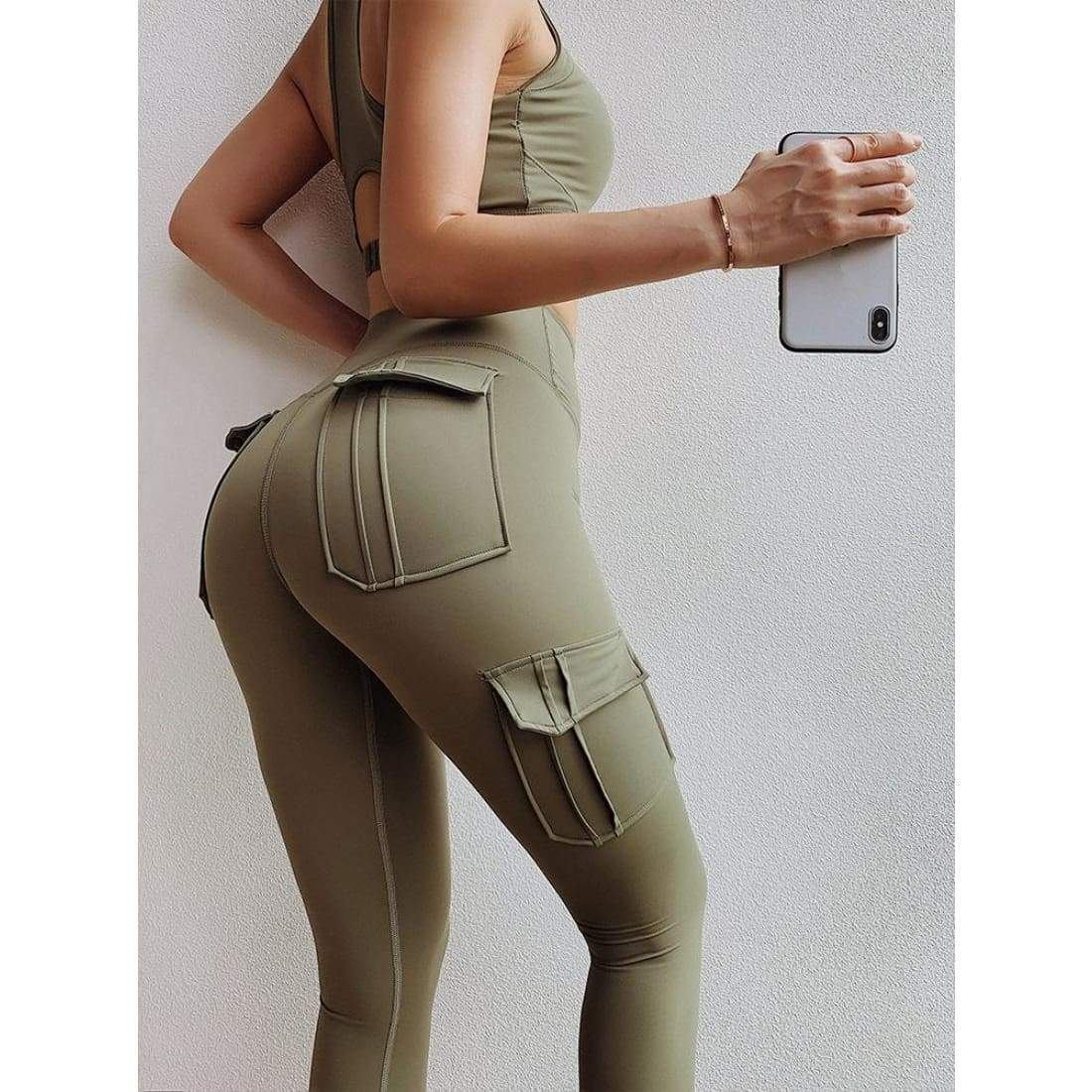 Sculpt cargo leggings - high waist pockets yoga sport workout running