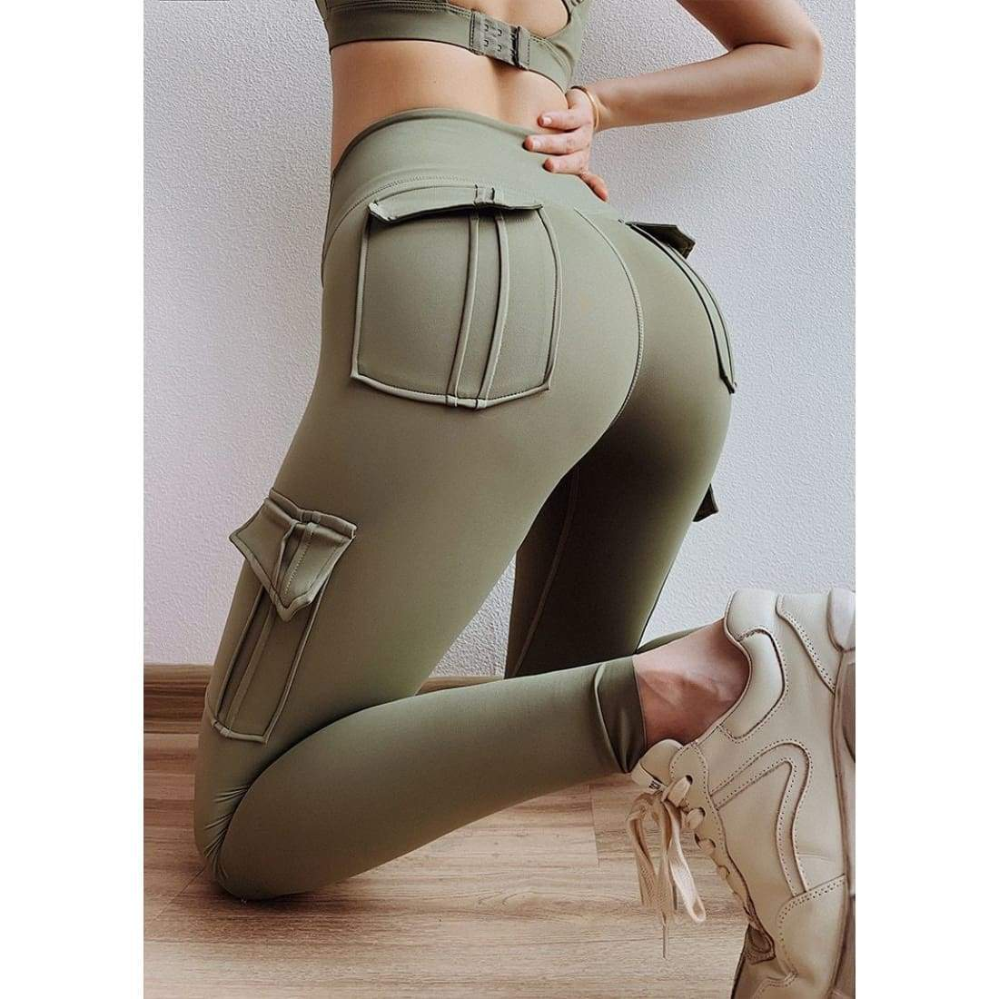 Sculpt cargo leggings - L / Army Green - high waist pockets yoga sport workout running