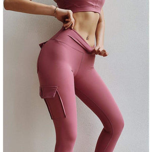 Sculpt cargo leggings - L / Pink - high waist pockets yoga sport workout running