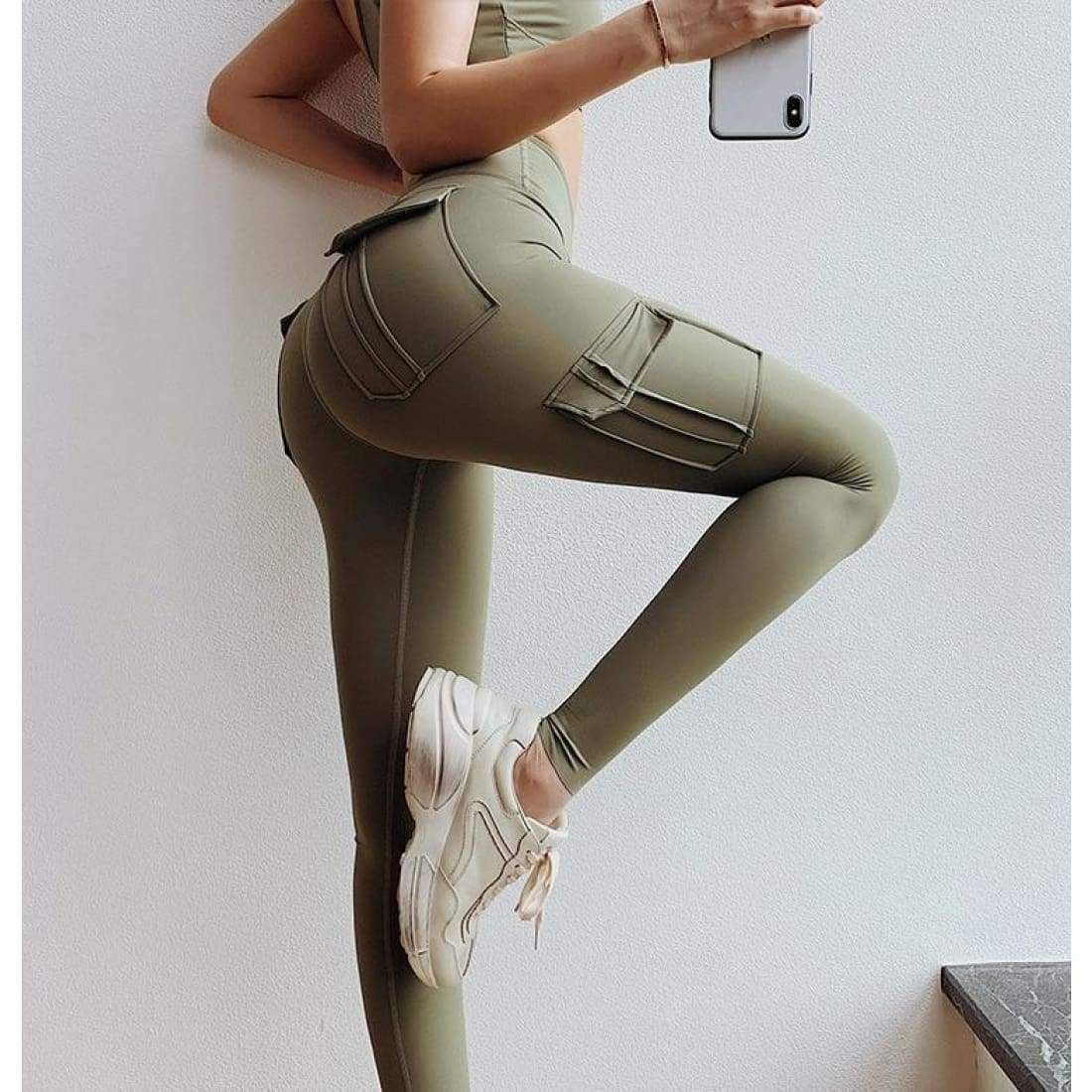Sculpt cargo leggings - M / Army Green - high waist pockets yoga sport workout running
