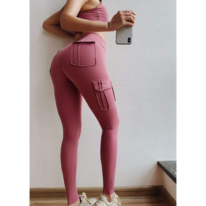 Sculpt cargo leggings - M / Pink - high waist pockets yoga sport workout running