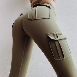 Sculpt cargo leggings - S / Army Green - high waist pockets yoga sport workout running