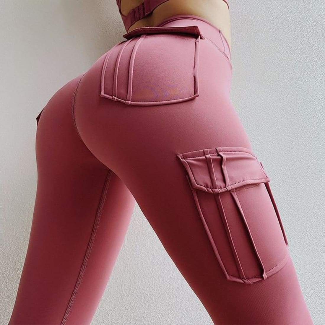 Sculpt cargo leggings - S / Pink - high waist pockets yoga sport workout running