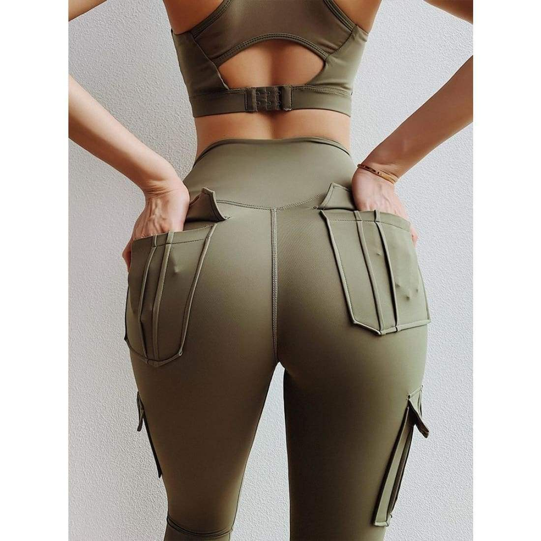 Sculpt cargo leggings - XL / Army Green - high waist pockets yoga sport workout running