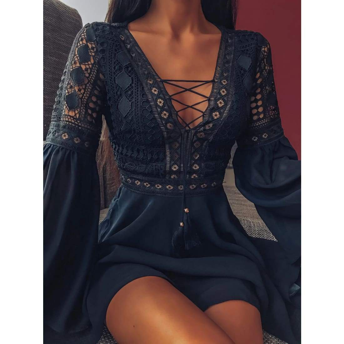 Sunset lace dress - Lace Black / S - mini dress