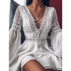 Sunset lace dress - Lace White / S - mini dress
