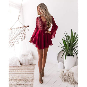 Sunset lace dress - mini dress
