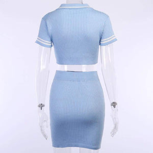 Sunshine knit set (2-Piece) - two-piece skirt crop top ribbed knitted button v neck bodycon party