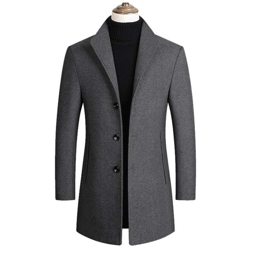 Wool coat with stand-up collar - Gray / XXS