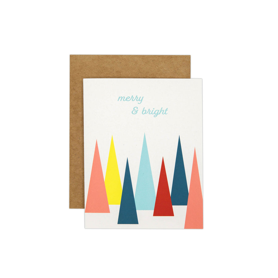 merry and bright trees small Card