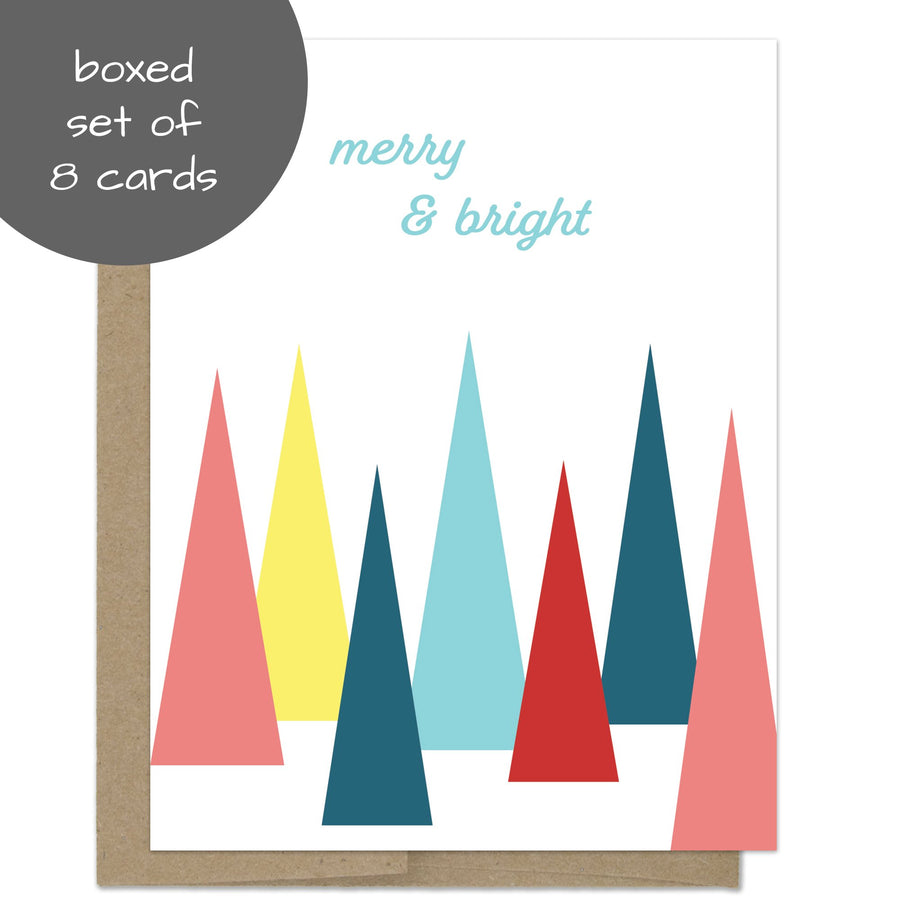 Merry and Bright Trees Christmas Card Box Set