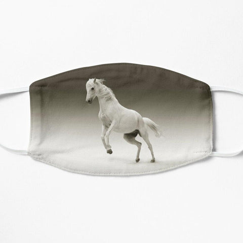Beautiful prancing white horse face mask