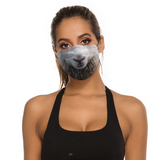 Beautiful woman wearing funny sheep face mask cover