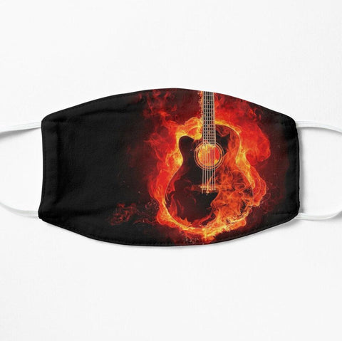 Black face mask with burning guitar