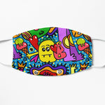 Colorful children doodle face mask