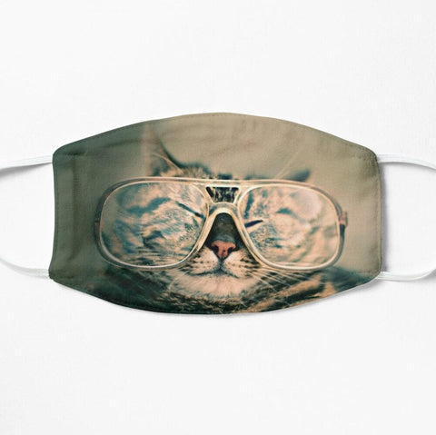 Cool animal face mask with cat wearing glasses