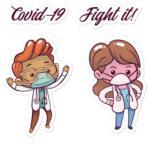 Covid-19 corona virus fight it sticker with cute doctors front line workers 5.5x5.5