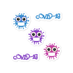 Cute covid-19 stickers with three cute viruses and cool text 4x4