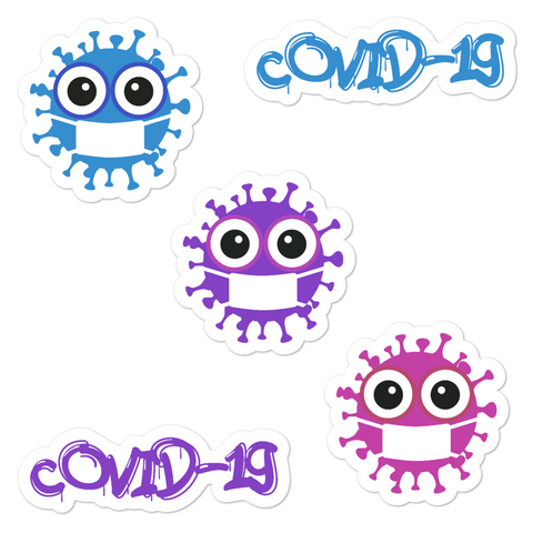 Cute covid-19 stickers with three cute viruses and cool text 5.5x5.5