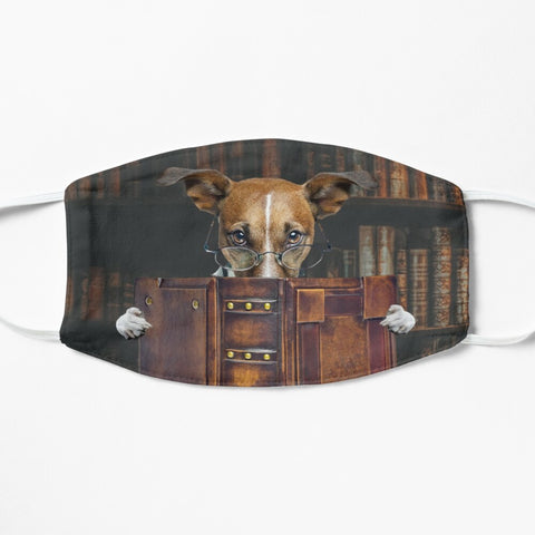 Dog reading old book in library face mask