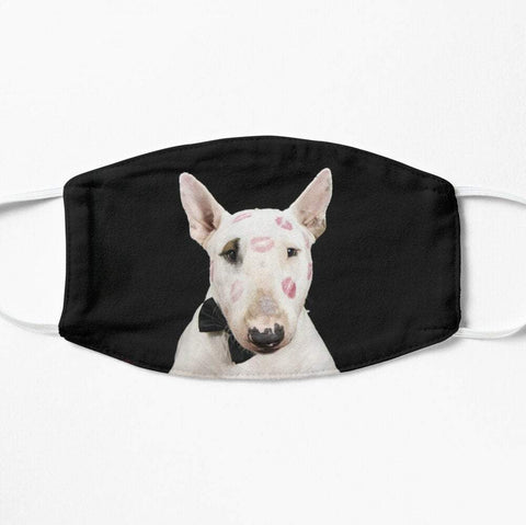 Face mask with adorable bull-terrier bullterrier don juan kisses