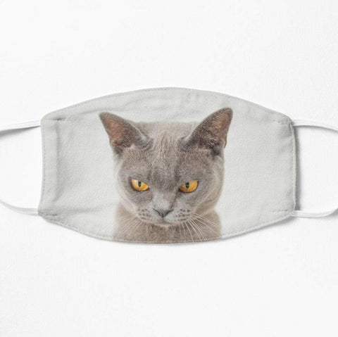 Grumpy cat face mask in grey
