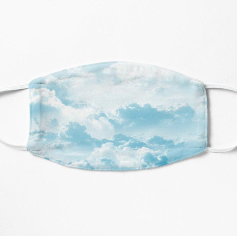 Happy clouds sky cloth face mask in blue