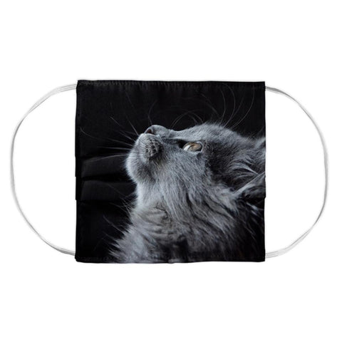 Kitty cat looking up on black face mask cover in cloth