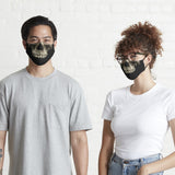 Man and woman wearing fitted skeleton face mask in small and large