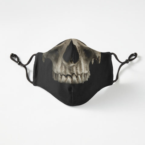 Skeleton face mask in black with nose wire and adjustable straps